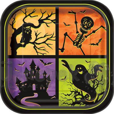 Kísértetház Parti Tányér Halloweenre - 23 cm, 8 db-os