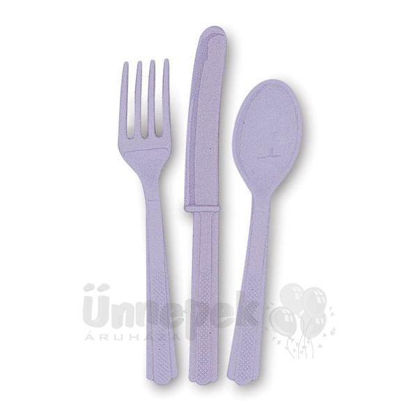 Lavender Műanyag Parti Evőeszköz Válogatás - 18 db-os