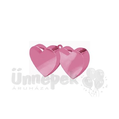 Rózsaszín (Pink) Dupla Szív Léggömbsúly - 170 gramm