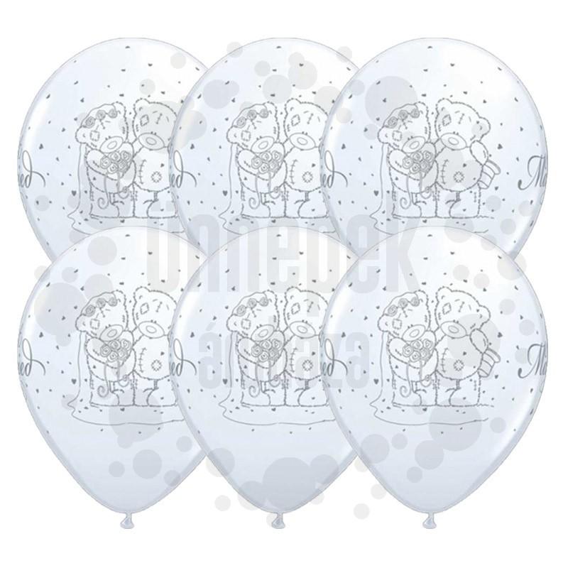 11 inch-es Tatty Teddy Just Married White Esküvői Lufi (6 db/csomag)