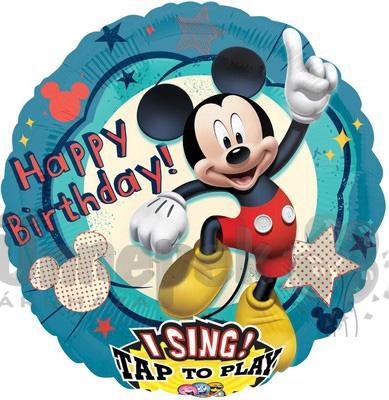 28 inch-es Mikiegér - Mickey Mouse Éneklő Szülinapi Héliumos Fólia Lufi