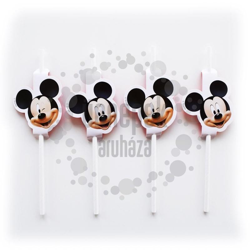 Mikiegér - Mickey Mouse Parti Szívószál - 4 db-os