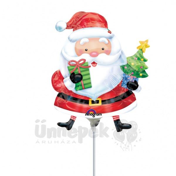 Mikulás Ajándékokkal - Santa with Tree Mini Shape Fólia Lufi Pálcán