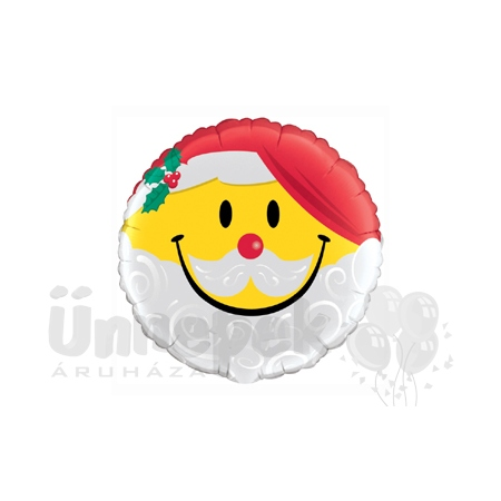 18 inch-es Mosolygó Mikulás - Smile Face Santa Héliumos Fólia Lufi