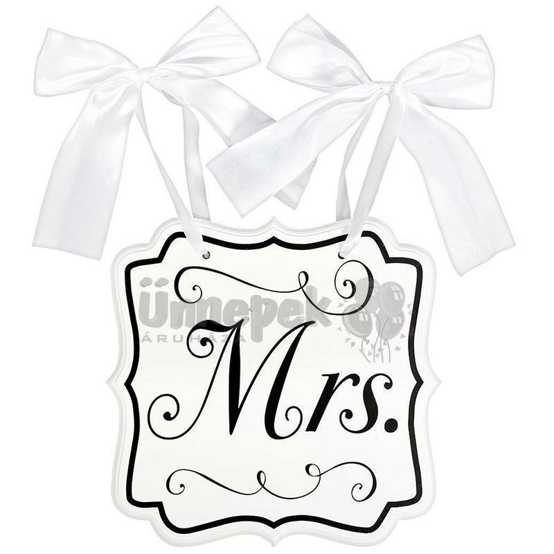 Mrs. Feliratú Esküvői Tábla, 24 c mx 24 cm
