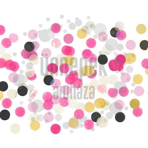 Nagy Kerek Pink-Fehér-Fekete-Arany Papír Parti Konfetti - 15 gramm