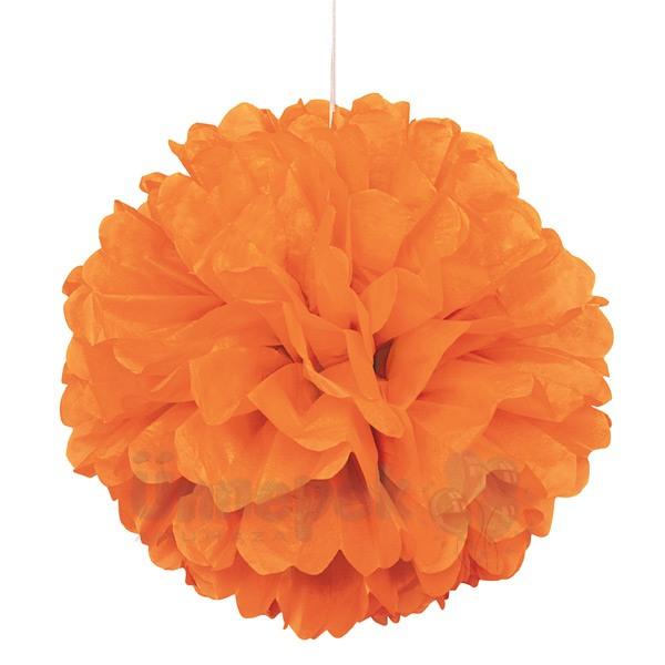 Narancssárga Bolyhos Függő Dekoráció - 41 cm