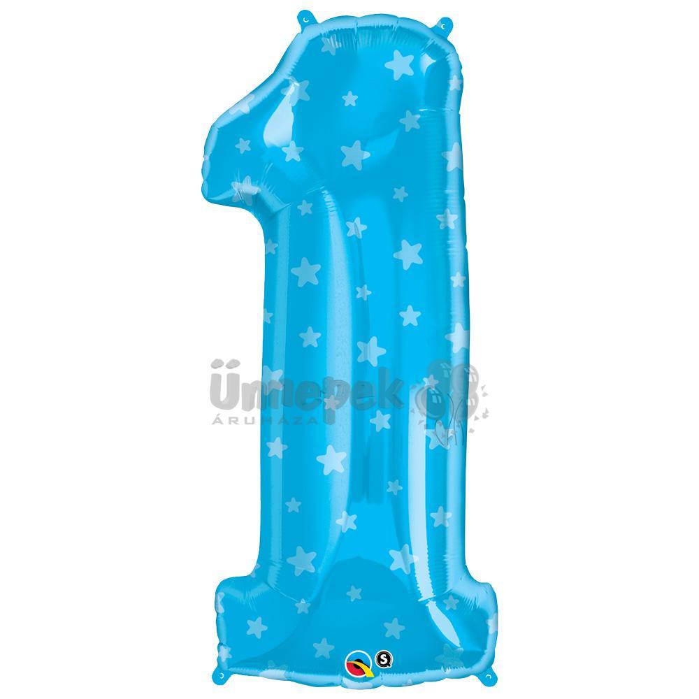 38 inch-es Number 1 Kék Csillag Mintás Héliumos Fólia Lufi