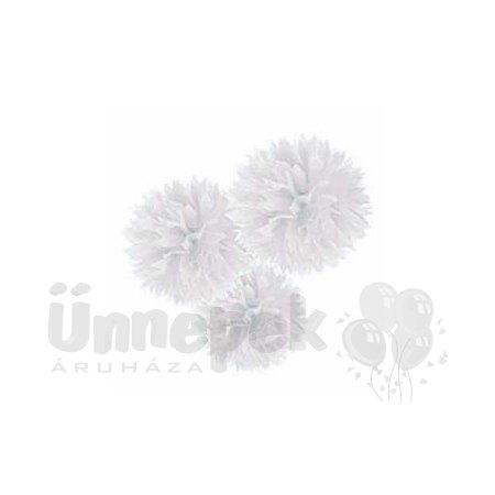 Fehér Bolyhos Függő Dekoráció - 41 cm, 3 db-os