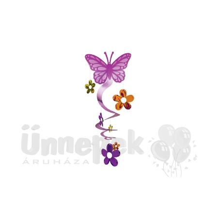 Pillangós Spirális Függő Dekoráció - 61 cm