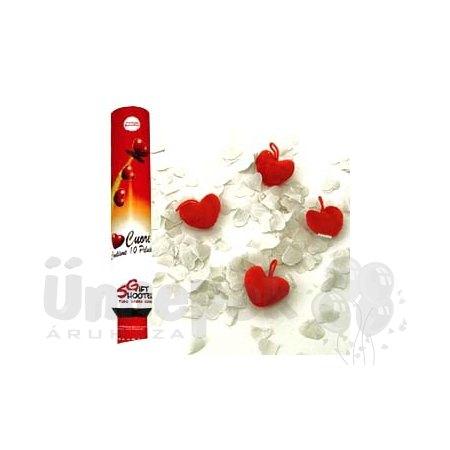 50 cm-es, Piros Plüss Szíveket és Fehér Papír Szíveket Kilövő Konfetti Ágyú
