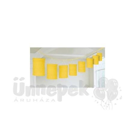Sárga Lampionfüzér Függő Dekoráció - 3,6 m