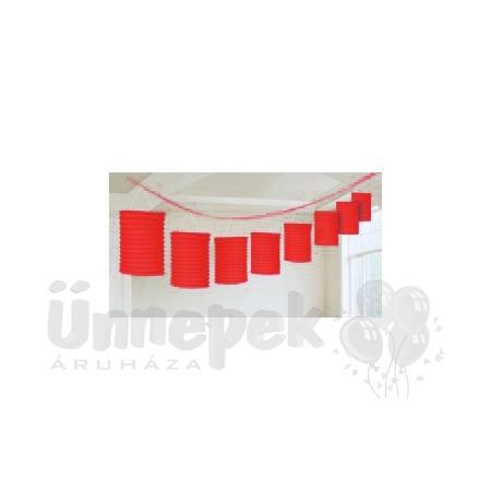Piros Lampionfüzér Függő Dekoráció - 3,6 m
