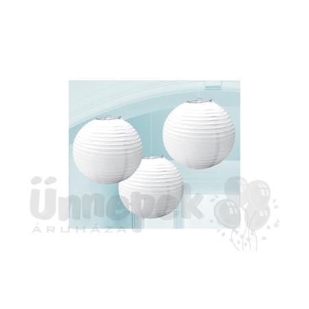Fehér Színű Parti Gömb Lampion - 24 cm, 3 db-os