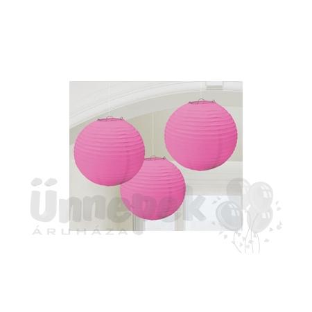 Rózsaszín Gömb Parti Lampion - 24 cm, 3 db-os