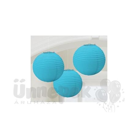 Kék Színű Parti Gömb Lampion - 24 cm, 3 db-os
