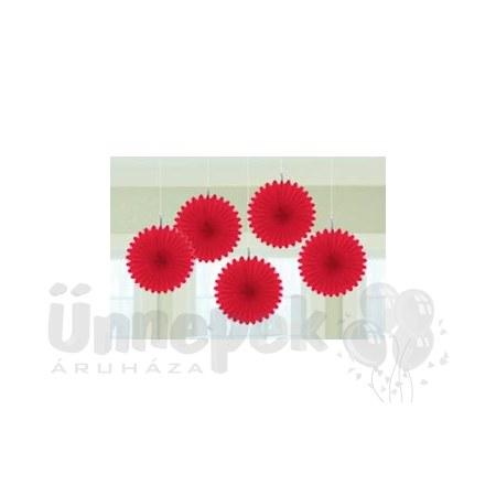 Piros Legyezők Függő Dekoráció - 15,2 cm, 5 db-os
