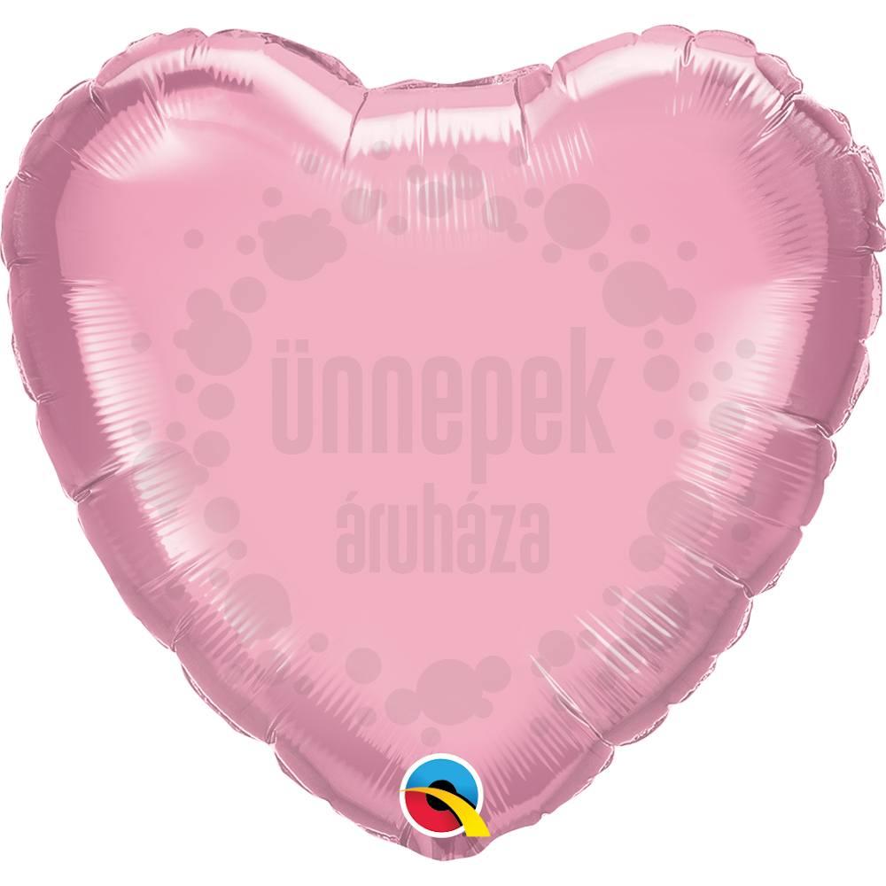 18 inch-es Gyöngyház Rózsaszín - Pearl Pink Szív Héliumos Fólia Lufi