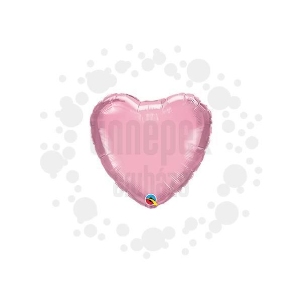 4 inch-es Gyöngyház Rózsaszín - Pearl Pink Szív Fólia Lufi Pálcán