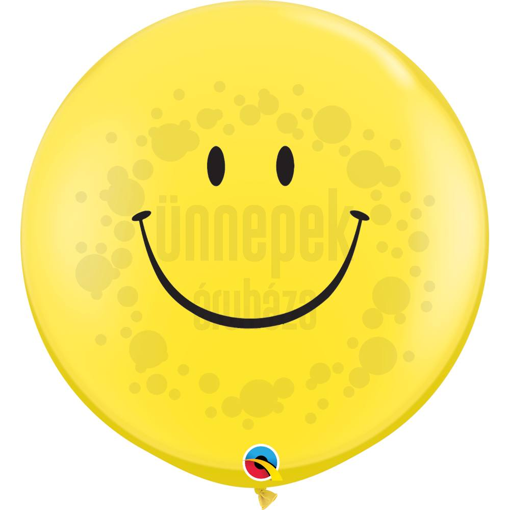 3 feet-es Smile Face Yellow (Standard) Kerek Latex Lufi (2 db/csomag)