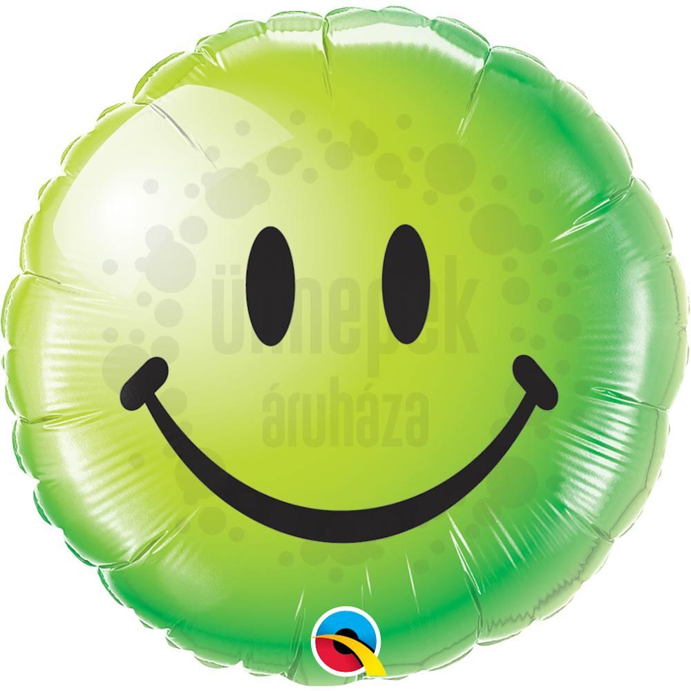 18 inch-es Zöld Mosolygós Arc - Smile Face Green Héliumos Fólia Lufi
