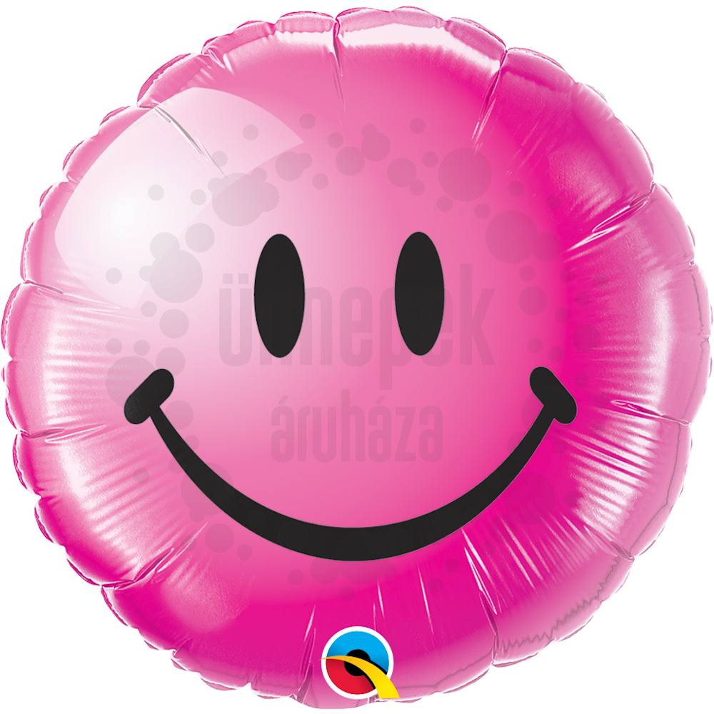18 inch-es Vadmálna Mosolygós Arc - Smile Face Wild Berry Héliumos Fólia Lufi