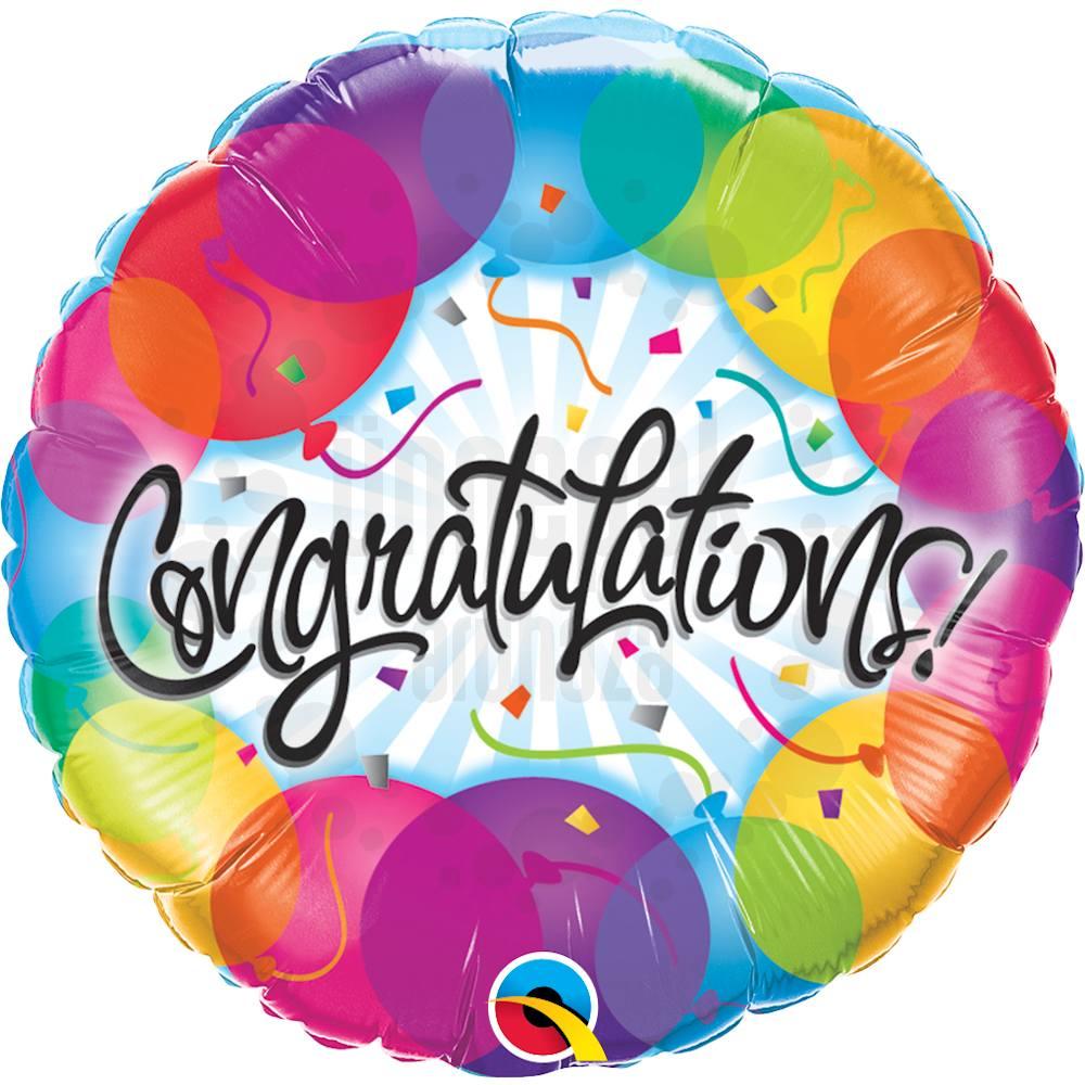 18 inch-es Gratulálunk - Congratulations Balloons Héliumos Fólia Lufi