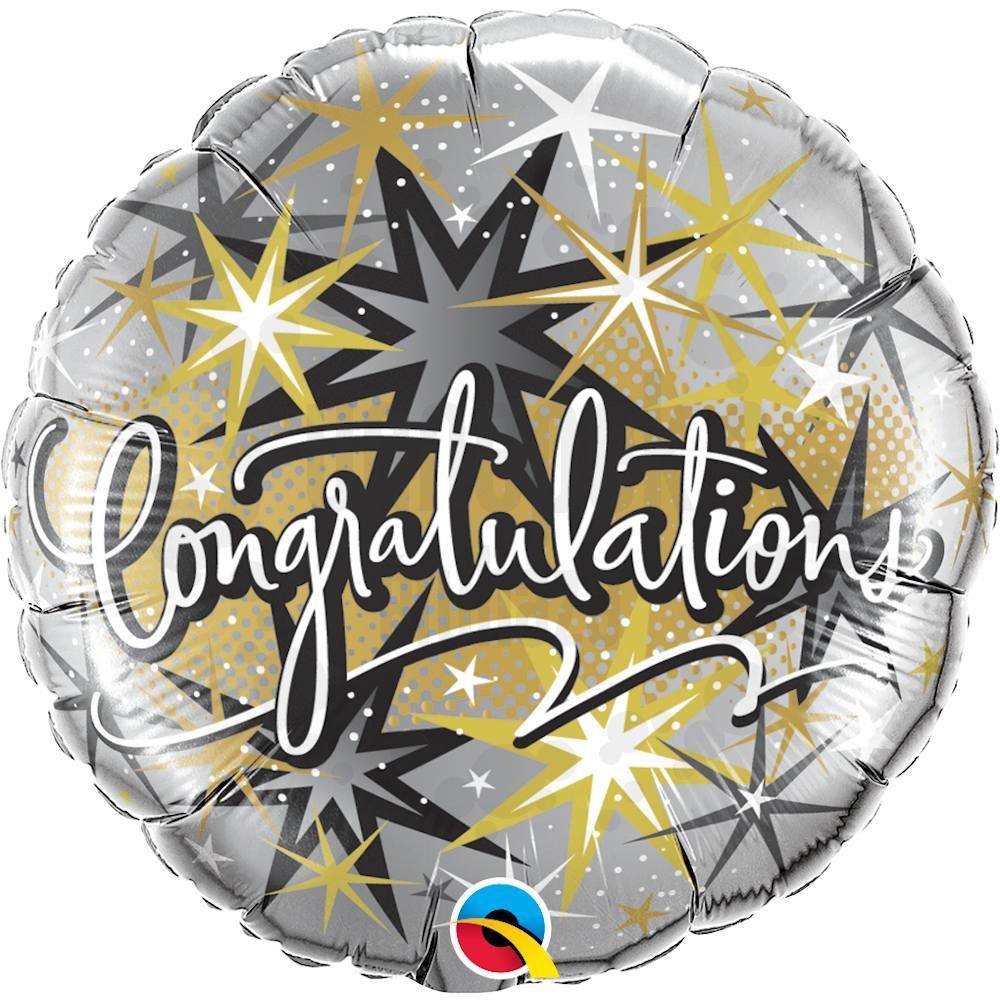 18 inch-es Gratulálunk - Congratulations Elegant Héliumos Fólia Lufi
