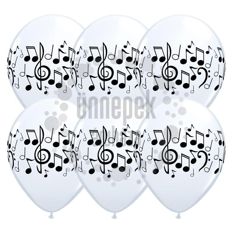 11 inch-es Music Notes - Hangjegy Mintás Lufi (6 db/csomag)