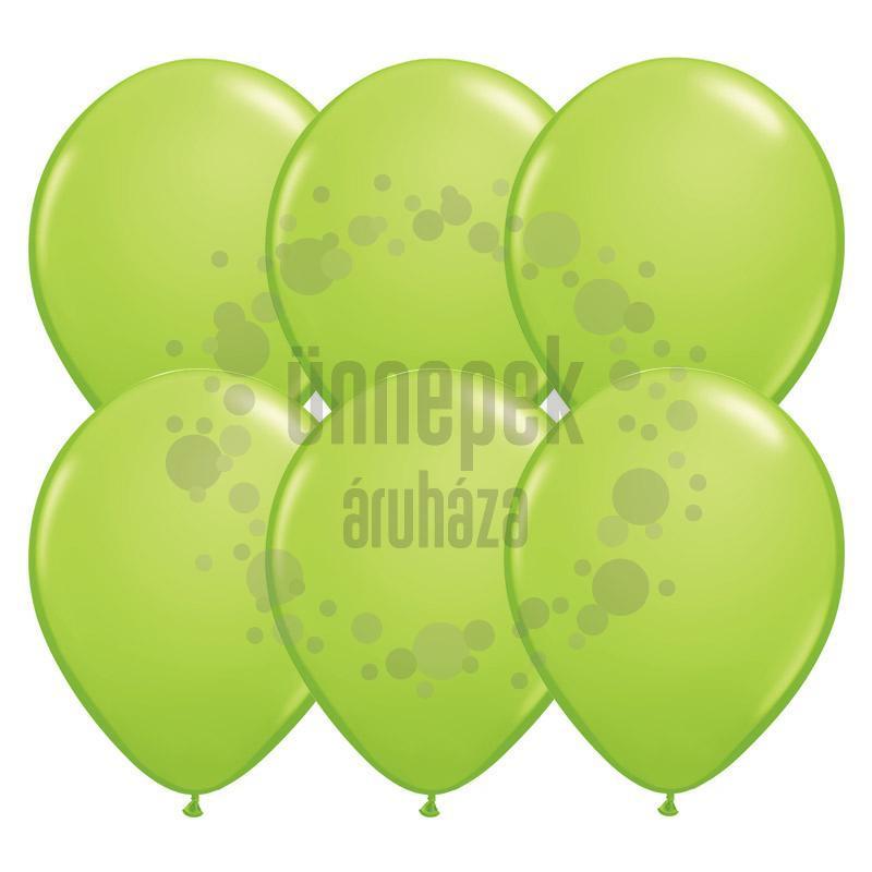 11 inch-es Lime Green (Fashion) Kerek Lufi (6 db/csomag)