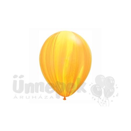 11 inch-es Yellow Orange Rainbow SuperAgate Kerek Latex Lufi (25 db/csomag)