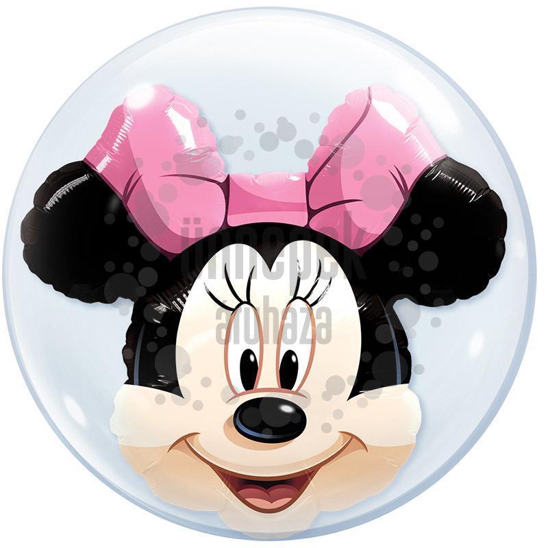 24 inch-es Disney Minnie Mouse Double Bubble Héliumos Lufi