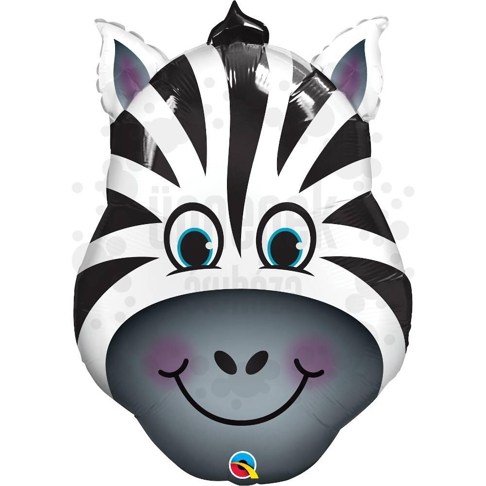 32 inch-es Zany Zebra - Zebra Fej Héliumos Fólia Lufi