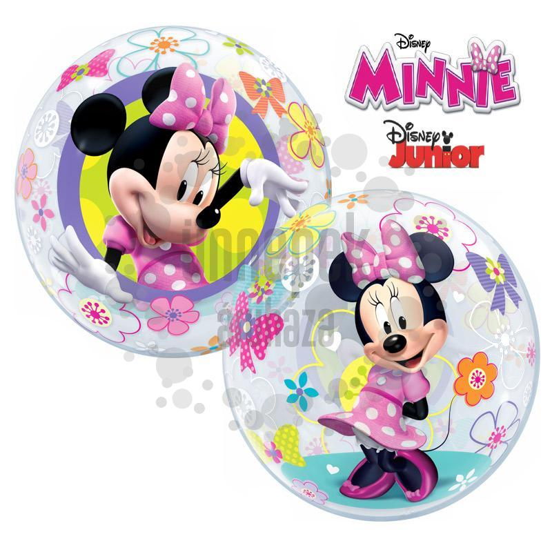 22 inch-es Disney Bubbles Minnie Mouse Bow-Tique Héliumos Lufi
