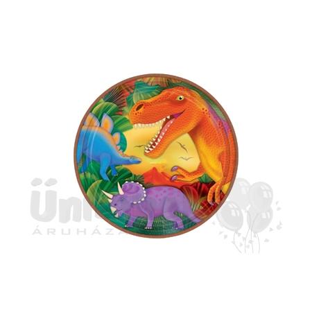 Dinoszaurusz Parti Tányér - 22,8 cm, 8 db-os