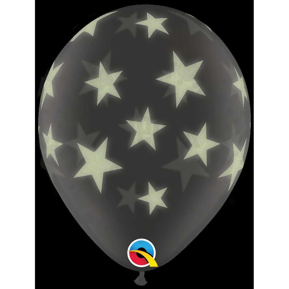 11 inch-es Glow Stars-A-Round Diamond Clear Csillagos Lufi (25 db/csomag)