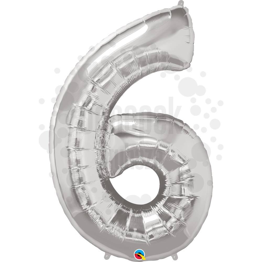 34 inch-es Number 6 Silver - Ezüst Számos Héliumos Fólia Lufi