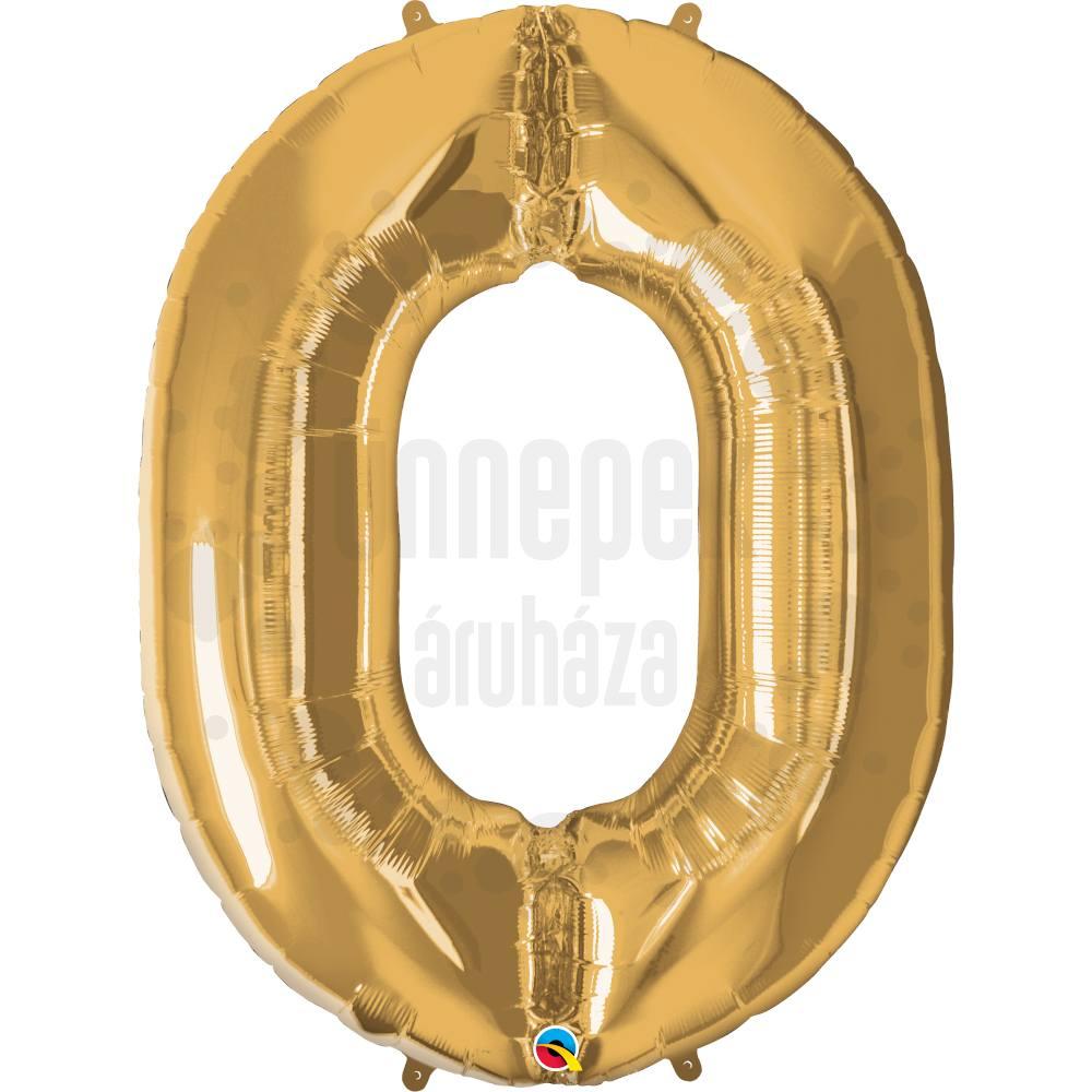 34 inch-es Number 0 Gold - Arany Számos Héliumos Fólia Lufi