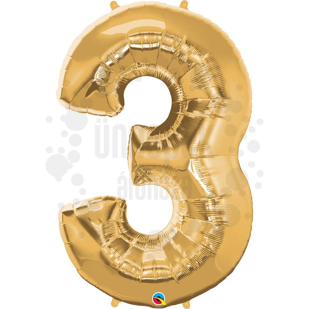 34 inch-es Number 3 Gold - Arany Számos Héliumos Fólia Lufi