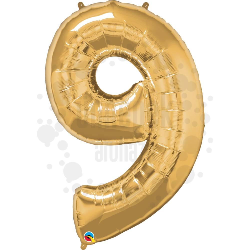 34 inch-es Number 9 Gold - Arany Számos Héliumos Fólia Lufi