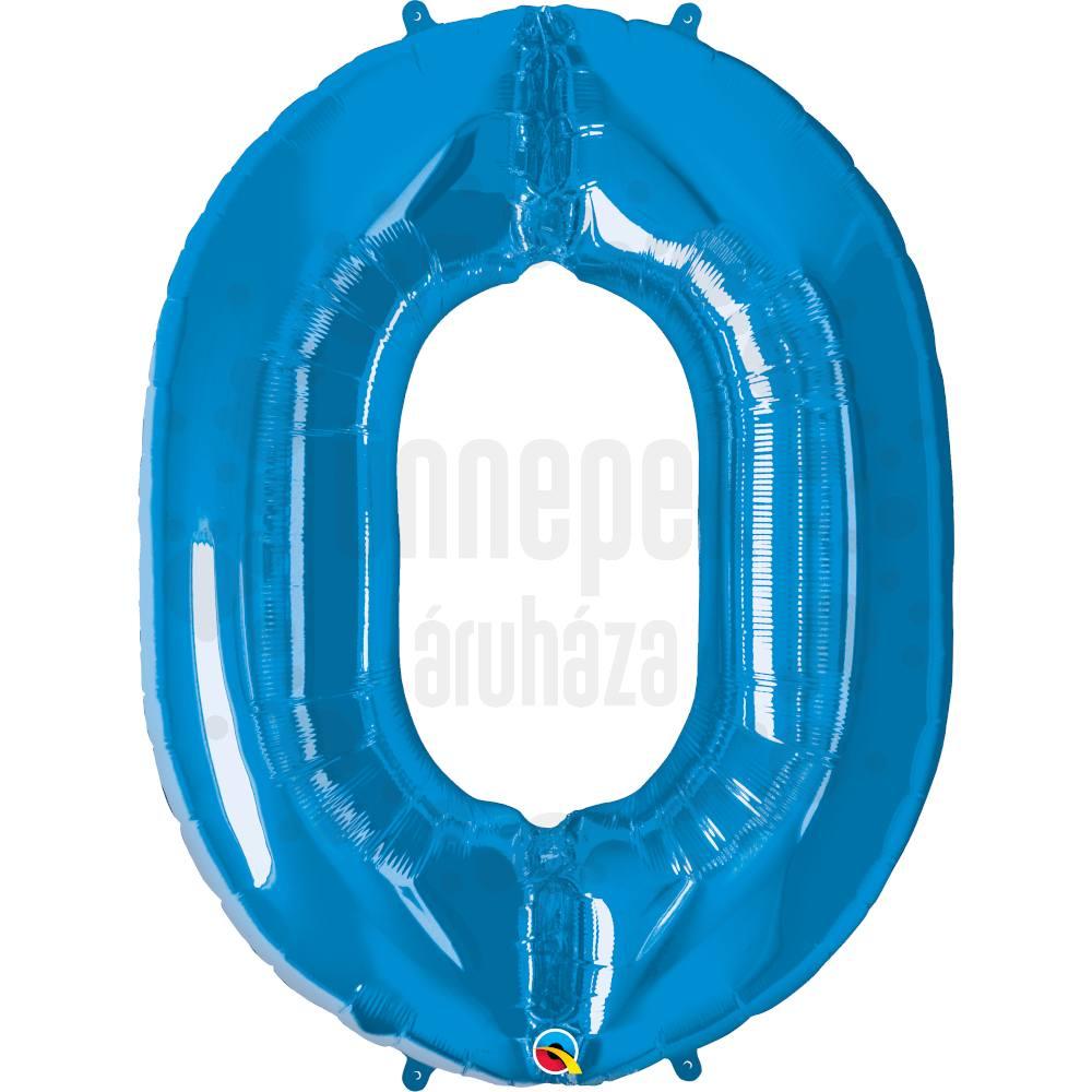 34 inch-es Number 0 Sapphire Blue - Zafírkék Számos Héliumos Fólia Lufi
