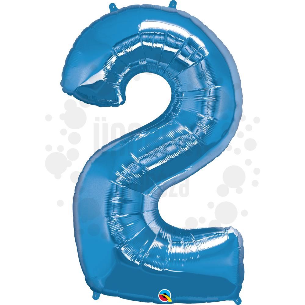 34 inch-es Number 2 Sapphire Blue - Zafírkék Számos Héliumos Fólia Lufi