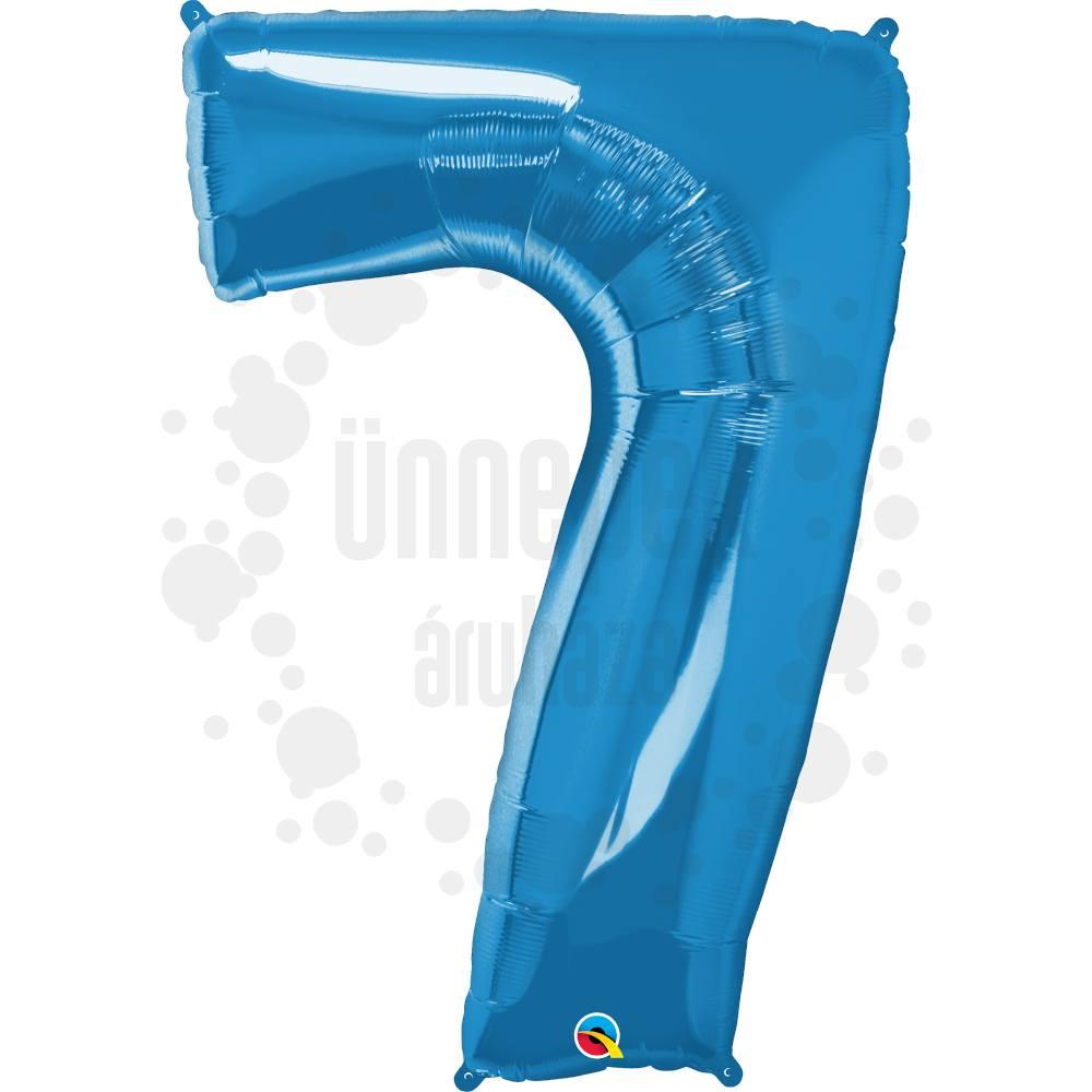 34 inch-es Number 7 Sapphire Blue - Zafírkék Számos Héliumos Fólia Lufi