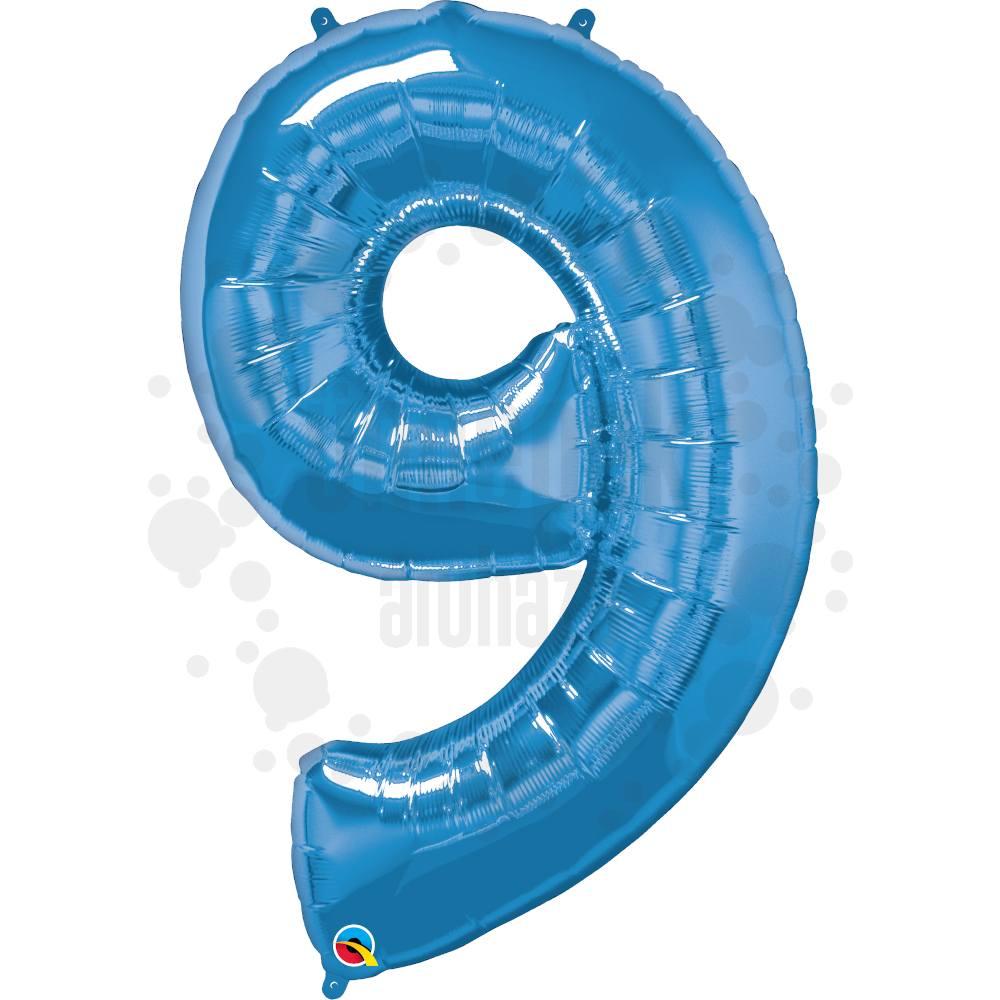 34 inch-es Number 9 Sapphire Blue - Zafírkék Számos Héliumos Fólia Lufi