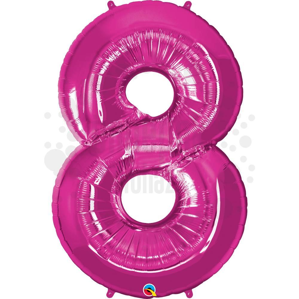 34 inch-es Number 8 Magenta - Rózsaszín Számos Héliumos Fólia Lufi