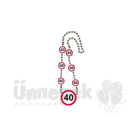 40-es Sebességkorlátozó Számos Szülinapi Parti Nyaklánc