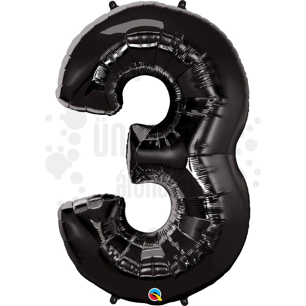34 inch-es Number 3 Onyx Black - Ónix Fekete Számos Héliumos Fólia Lufi