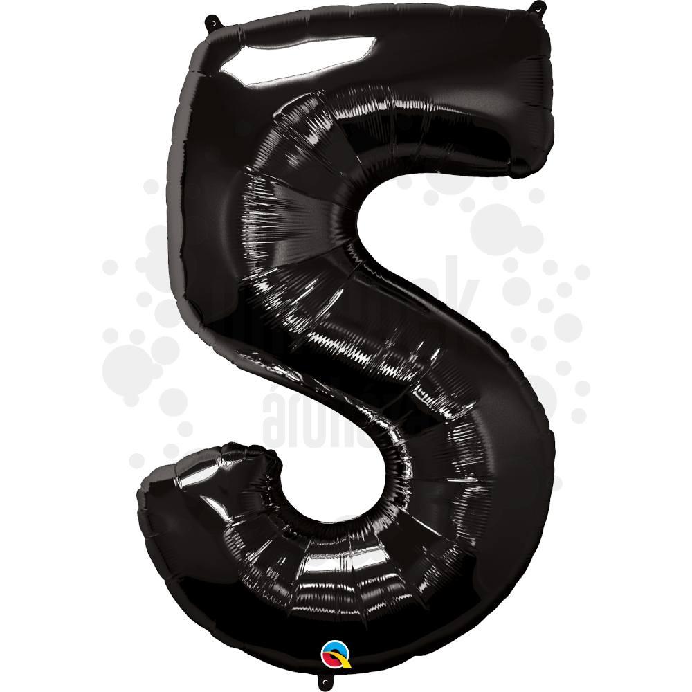 34 inch-es Number 5 Onyx Black - Ónix Fekete Számos Héliumos Fólia Lufi