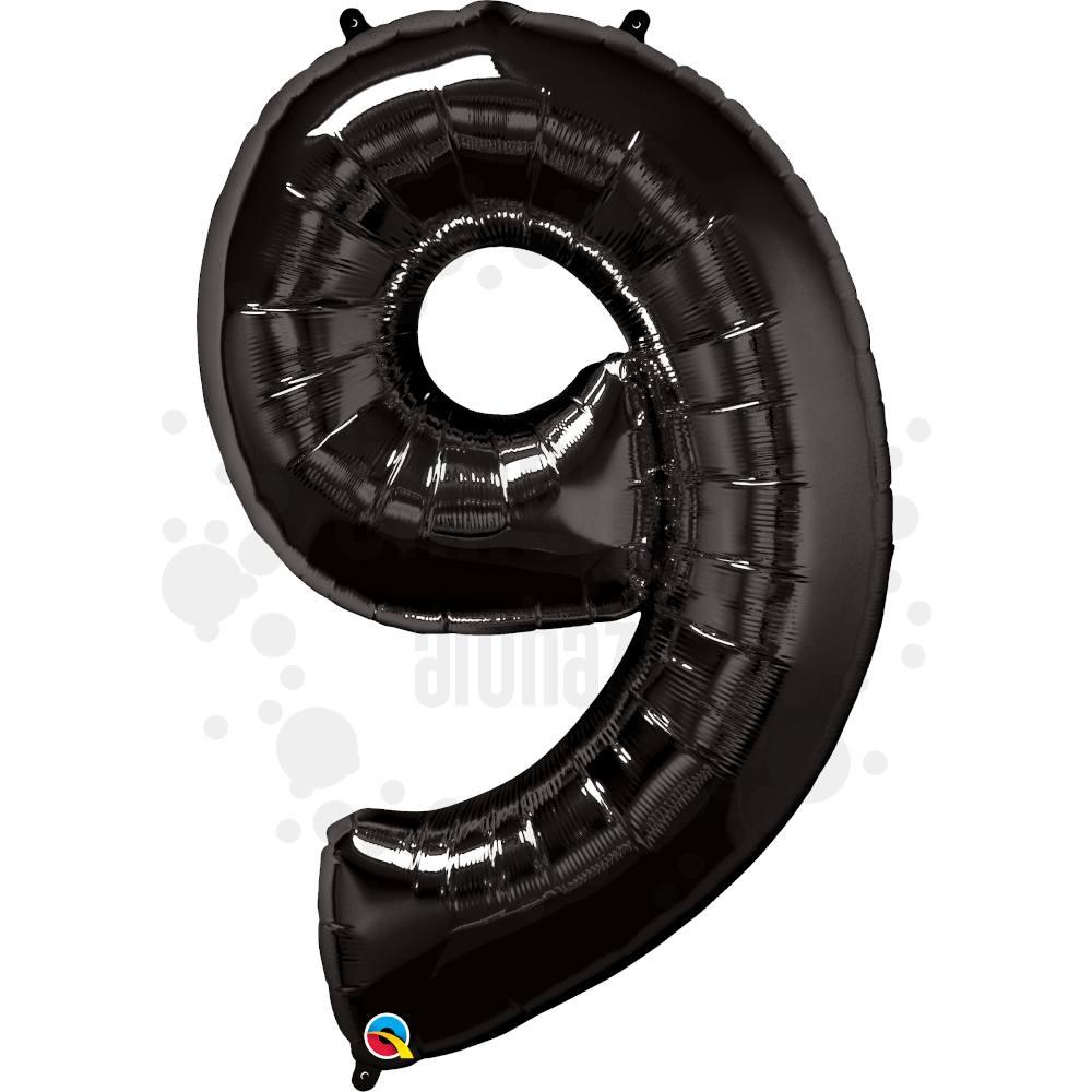 34 inch-es Number 9 Onyx Black - Ónix Fekete Számos Héliumos Fólia Lufi