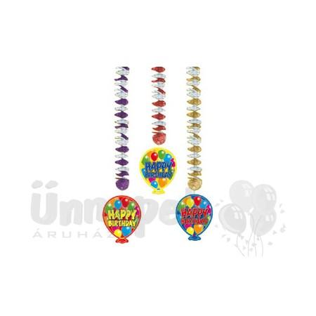 Balloons Happy Birthday Szülinapi Parti Függő Dekoráció - 3 db-os
